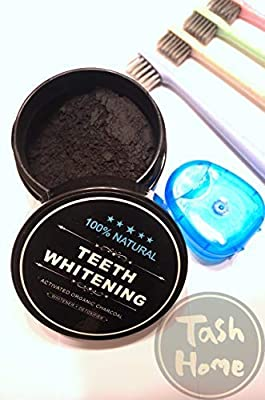 Charcoal Teeth Whitening Powder with 4 Piece Bamboo Toothbrushes and Floss - Organic by Tash