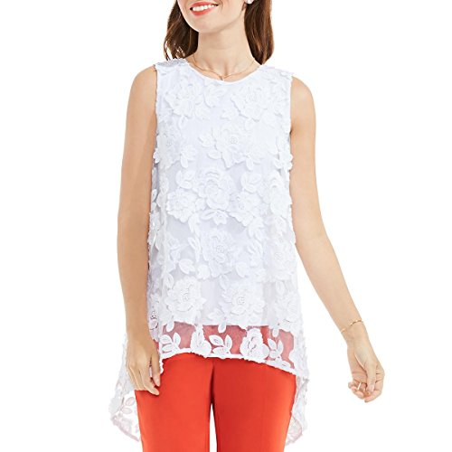 Vince Camuto Womens Sleeveless High-Low Hem Floral Mesh Blouse Ultra White MD One (Vince Sheer)