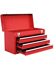 Goplus® 20-Inch Portable Steel Tool Box Tool Chest Cabinet w/ 3 Drawers and Top tray, Black&Red
