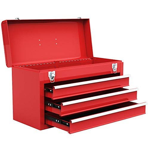 Goplus Tool Chest 20-Inch Portable Tool Box Steel Cabinet w/ 3 Drawers and Top tray, Red ()