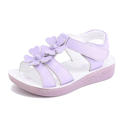 Girl Flat Flower Leather Sandals(Toddler/Little Kid/Big Kid)(3.5, (Big Kids Purple Apparel)