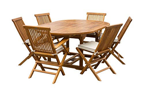 7 Piece Teak Wood Miami Patio Dining Set with Round to Oval Extension Table, 2 Arm Chairs and 4 Side Chairs with Cushions, Made from Solid A-Grade Teak Wood (Table Round Extends To Oval Dining)
