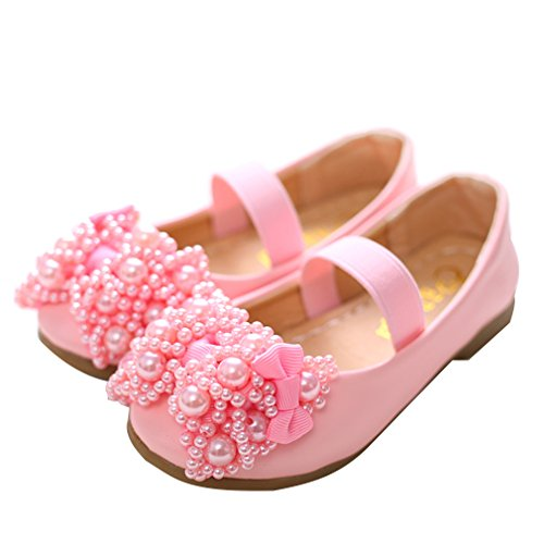 EOZY Kinderschuhe Mädchen Prinzessin Ballerinas Schuhe Festliche Schuhe Schleife Lederschuhe Pink