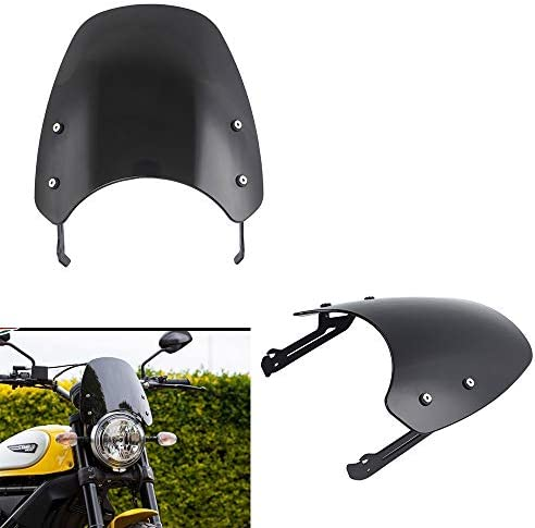 XX eCommerce Motorcycle Motorbike Touring Front Flyscreen Windscreen Windshield Shield Screen With Mounting Bracket For Ducati Scrambler 2015 2016 2017 2018 2019 Smoke