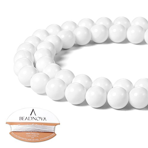 BEADNOVA 8mm White Tridacna Stone Shell Gemstone Round Loose Beads for Jewelry Making (45-48pcs)