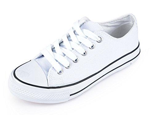 SUNJIN ARCO Unisex Fashion Lace up Sneaker Low Top Canvas Shoes (White,11 M US Women / 9 M US Men)-244