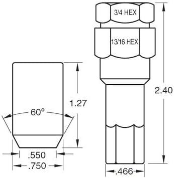 Black Tuner Acorn 12x1.5 Lug Nut Kit 24 Pc Set with Key