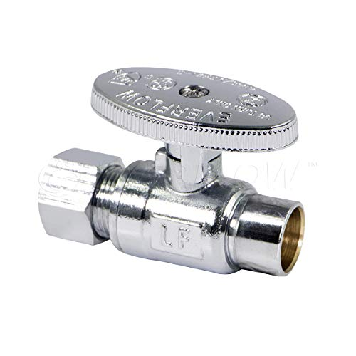 Everflow Supplies 82212PR-NL Quarter Turn Straight Stop Valve Compression, 1/2-Inch, Crome ()