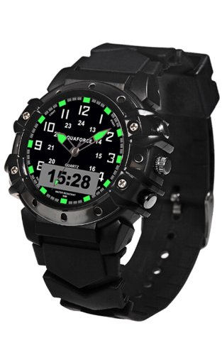 Aqua Force 40mm Analog Quartz Watch with Digital 24 Hour Display, Black by Aqua Force