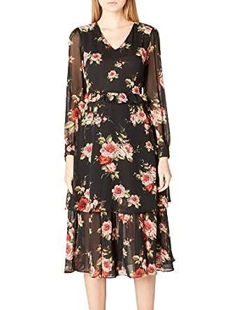 adL Kadın V Yaka Desenli Elbise, Emp.Pudra, XS Beden