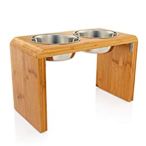 """Large 12"""" Tall Elevated Dog & Pet Feeder- Double Bowl Raised Food & Water Stand- Includes 2 Extra Stainless Steel Bowls, 4 Bowls Total 1"""