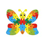Winkey Toys for Age 1 2 3 4 5 6 Years Old Baby Boys Girls, 26 Alphabet Kids Baby Wooden Animal Puzzle Jigsaw Early Learning Baby Educational Toys (Butterfly)