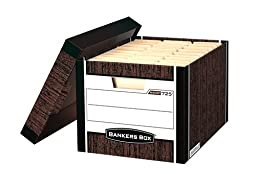 Bankers Box R-Kive Heavy-Duty Storage Boxes, Letter/Legal, Woodgrain, 12 Pack (00725)