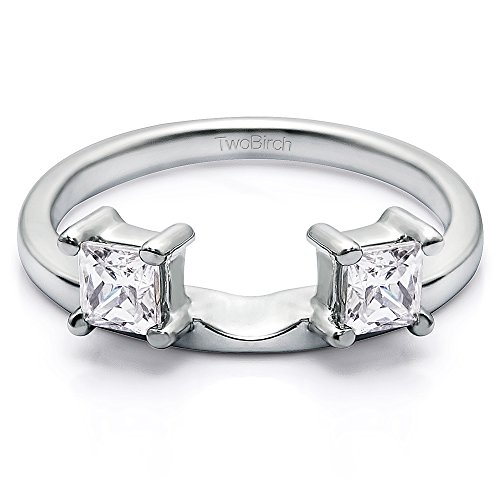 Diamond Three Stone Princess Cut Ring Wrap in Platinum GH SI2 I1(0.25Ct)Size 3 To 15 in 1/4 Size Interval (Ring Cut Guard Princess Diamond)