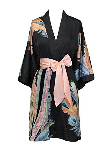 Old Shanghai Women's Kimono Robe Short - Watercolor Floral, Peacock Feather- Black