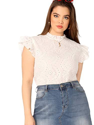 - Romwe Women's Plus Size Sleeveless Ruffle Stand Collar Embroidery Button Slim Cotton Blouse Top White 0X