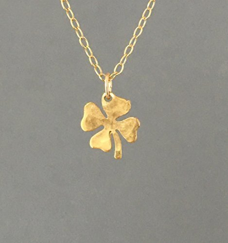 (Tiny Hammered Gold Four Leaf Clover Necklace also in Silver)