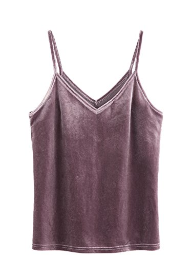 (SheIn Women's Casual Basic Strappy Velvet V Neck Cami Tank Top Large Purple)