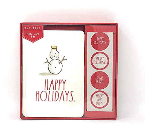 (Rae Dunn Christmas Note Card Set 12 Count Includes Envelopes and Stickers Snowman)