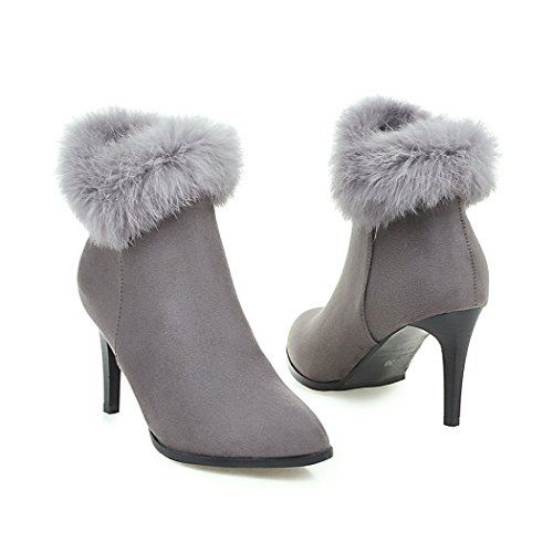 ZQ señalaron y botas zapatos de Estados con Unidos QXEuropa stiletto gray esmerilado código los botas rZ5xwqrzKX
