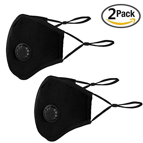 N95 N99 Anti Air Dust and Smoke Pollution Mask Washable PM2.5 Masks with Adjustable Straps, Air Filter Mask for Pollution Smoke Allergy Mask for Women Man Black (2 PCS Black)