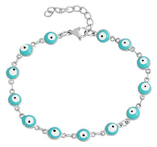 EDFORCE Stainless Steel Womens Charm Bracelet Enamel Evil Eye Protection Link Chain Adjustable, 7
