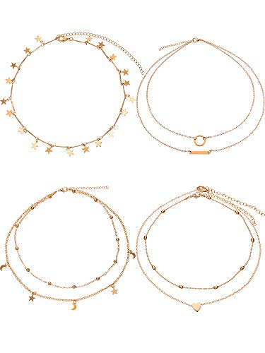 - BBTO 4 Pieces Layered Pendant Choker Necklace Gold Layering Chain Choker for Women Girls (Style A)