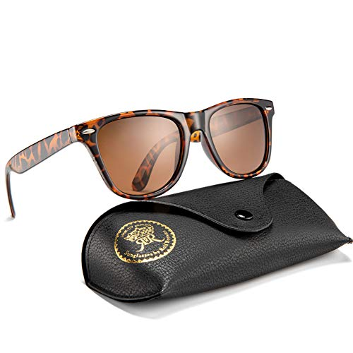 (Vintage Polarized Sunglasses for Men Retro Women Square Sun Shades Driving Glasses UV400 Protection with Case (Tortoise, Brown))