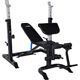2-Piece Olympic Bench With Squat Rack Multi-position Back Pad With Full Leg Developer And Preacher Pad