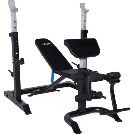 2-Piece Olympic Bench With Squat Rack Multi-position Back Pad With Full Leg Developer And Preacher Pad by Fuel Pureformance