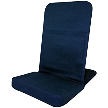 """Portable Floor Chair, MEMORY FOAM Seat, Padded Back Frame, Folding Chair. Adjustable Angle Back-Rest. 14"""" W x 22"""" H x 21"""" Deep (Blue)"""