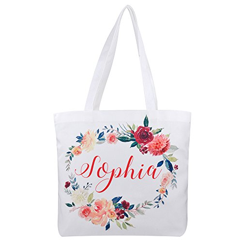 Personalized 16oz Tote Bag, Custom Bridal Party Bag, Bridesmaid Gift Bag, Reusable Canvas Tote Bag, Mother Gift (Print on 1 side only)]()