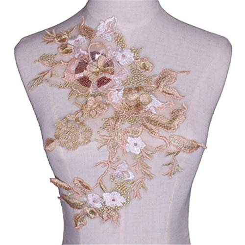 3D Flower Embroidery Sequins Applique Cloth Patches Hand Sewn Patches No Glue Sewing Accessory DIY For Dress Wedding NL398 ()