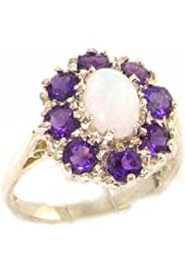 10k White Gold Natural Opal and Amethyst Womens Cluster Ring - Sizes 4 to 12 Available