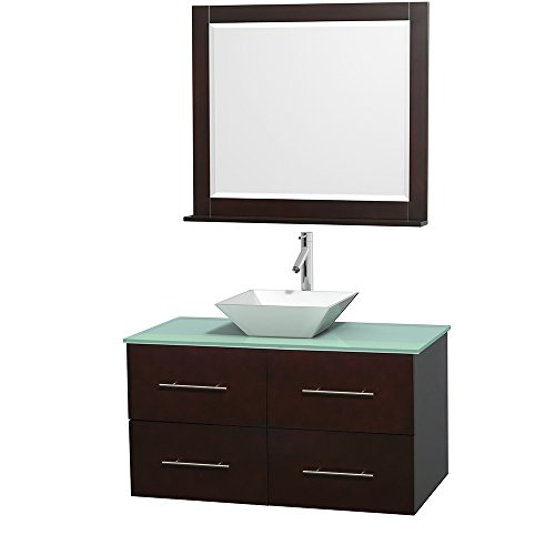 Wyndham Collection Centra 42 inch Single Bathroom Vanity in Espresso, Green Glass Countertop, Pyra White Porcelain Sink, and 36 inch Mirror - Galiano Collection