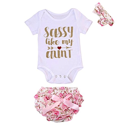 Aunt Onesie (3 Pcs Newborn Baby Girls Romper Bodysuit + Bow-knot Floral Bloomer + Headband Outfits Set(0-3M, White With Shorts))
