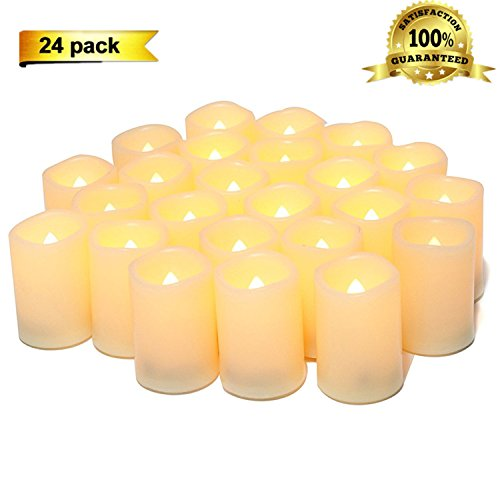- Sweethug Flameless Candles LED Flickering Votive Candles Battery Operated Unscented Candles, 120+ Hours, Set of 24, Perfect for Birthday Wedding Party,Home Decor, Festival Decorations