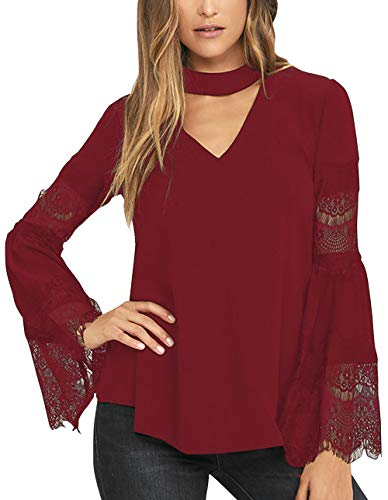 (Selowin Women Fashion Choker V Neck Bell Sleeve T-Shirt Top Blosue Wine Red M)