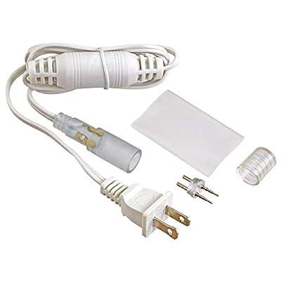 """Brilliant Brand Lighting Standard 120 Volt 5 Foot 1/2"""" LED Rope Light Power Cord Kit - White"""