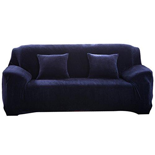 vanpower Thicken Plush Sofa Cover Cushion Solid Colour Slipc