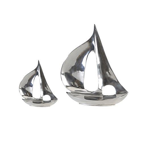 Casablanca Alu Skulptur Boot poliert H 21 cm 2er Set