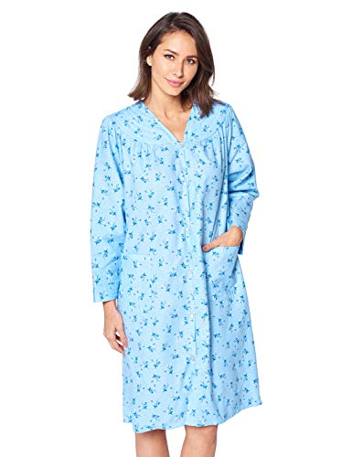Casual Nights Women's Floral Snap Front Flannel Duster Long Sleeve Lounger Dress - Blue Floral - Large (Blue Floral Nightshirt)