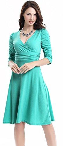 U-shot - Vestido de fiesta para mujer, escote de pico, diseño retro Verde Mar