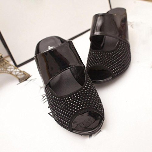 Upxiang Damen Candy Farbe Sandalen Mode Mischfarbe Fisch Mund Dicke High Heels Schuhe Frauen Sandalen Platz Plattform Hausschuhe Schwarz