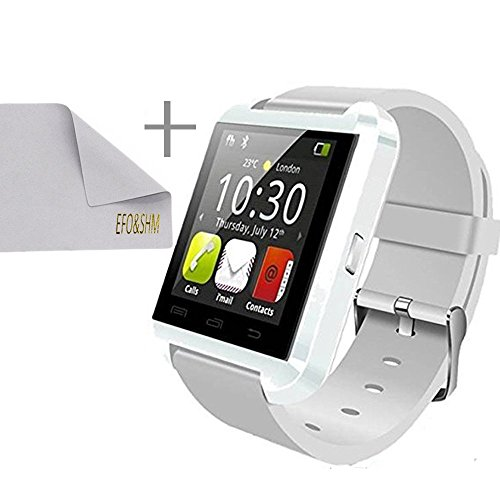 EFOSHM® SAFE Luxury Sport V8 Smart Bracelet Watch Bluetooth Wireless Notification Phonebook Dialer Messaging Call Log Notifier Music Camera Remote Camera Control Anti Lost Anti-Lost Menustyle Ringtone Sleep Monitor Pedometer Fit Fitness Health Sports Exercise Calls SMS Reminder Multilanguage Stopwatch Time Date Findphone Clocktype Sedentary Remdiner Compatible for Men Man iPhone 6 Plus 5S 5C 5 4S, iPad Air, mini, Galaxy S6 S5 S4 S3, Note 4 3 2, Tab 4 3 2 Pro, Nexus 4 5 7 10, HTC One, One 2 (M8), LG G3, MOTO X G, most other Phones and Tablets (White).