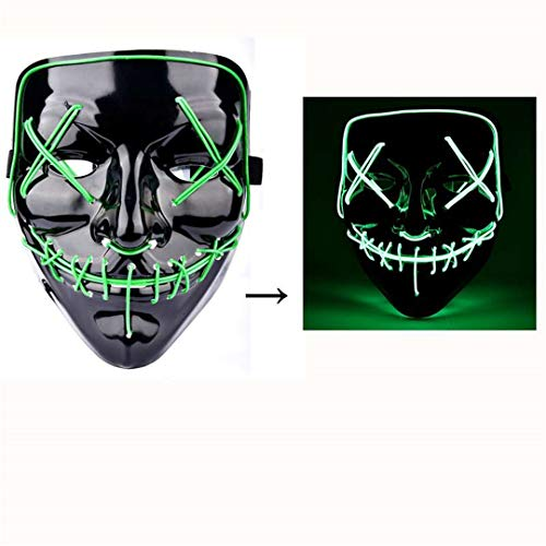 Halloween LED Mask The Purge Mascara Led Mask Light Up Neon Skull Mask Party Glow in Dark Festival Cosplay Costume Supplies Green