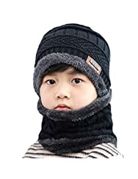 Kids Boys Girls Warm Fleece Lining Beanie Snow Hat and Scarf Set (Black)