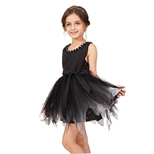 [Brady & Kelly Girls Little Black Party Dress with TuTu Tulle Halloween costume, Size 2T, 3T,4T,5T,] (Black Tutu Halloween Costume)
