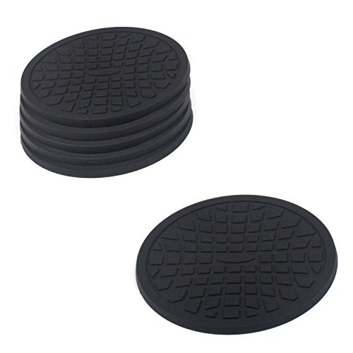 Coasters by Simple Coasters - The Best Drink Coasters and Bar Drink Coasters - These Coasters for Drinks Won't Stick to Your Glass - For Indoors or Outdoors - Great for Hot or Cold Beverages (Black)