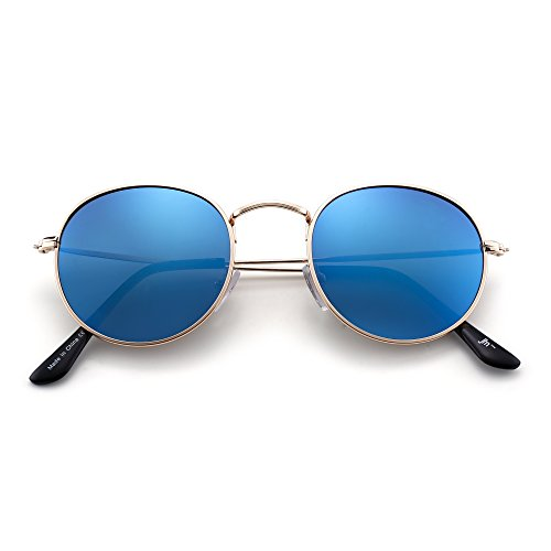 JIM HALO Gafas de Sol Redondas Pequeña Polarizadas Lente Retro Espejo Círculo Marco de Metal Hombre Mujer(Dorado/Polarizado Azul): Amazon.es: Ropa y ...